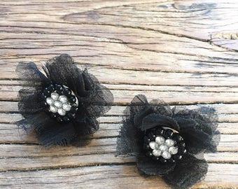 Vintage 90s Black Lace and Rhinestone Flower Earrings, Statement Earrings, Vintage Costume Jewelry, Floral Earrings, Fabric Earrings