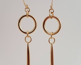 Elegant Gold Dangle Earrings with Gold Darts