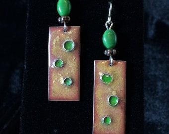 Enameled Copper Earrings with Green