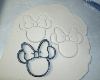 Minnie Mouse head with bow cookie cutter play doh cake fondant bakery baking tool Disney special occasion 3D Printed - Made in USA PR530
