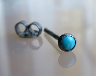 turquoise cartilage earring / 3mm cartilage stud earring / tragus stud earring / conch piercing stud