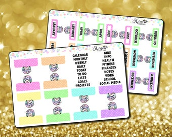Luna Planner Tab Stickers - Planner Stickers Erin Condren Life Planner Section Monthly Tabs Traveler's Notebook ECLP Stickers Happy Planner