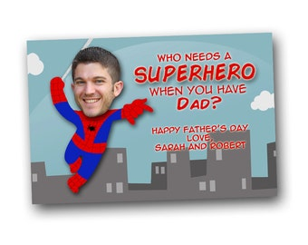 Father's day photo card, spiderman, superhero dad carrd, digital file, printable