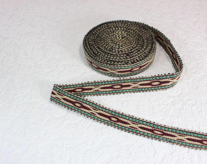 Woven Trim (6 yards), Woven Border, Cotton Ribbon, Grosgrain Ribbon, Dress Border, Border Trim, R184