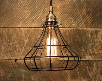 Pendant Light with Black Wire Cage - Industrial Lighting