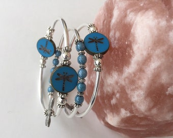Blue Silver Dragonfly Bracelet Mothers Day Gift Gardening Gift Birthday Gift
