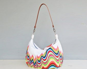 Rainbow Zipper Hobo Bag, Bright Colorful Shoulder Bag, Spring Purse, Fabric Crossbody Bag, Summer Purse with Custom Leather Strap, USA Made