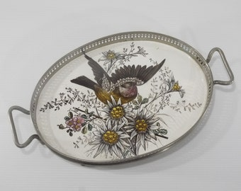 Antique french Oval Porcelain Tile Serving Tray with Lovely Bird and Flowers Decor Circa 1910's