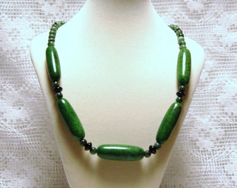 "Bold Chunky Forest Green Magnesite with Ruby Zoisite and Onyx Beaded Copper Statement Necklace--""Majestic Forest Jewels"""