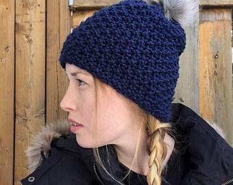 Summit Beanie, Faux Fur Pom Pom Hat, Navy Blue Slouchy Beanie