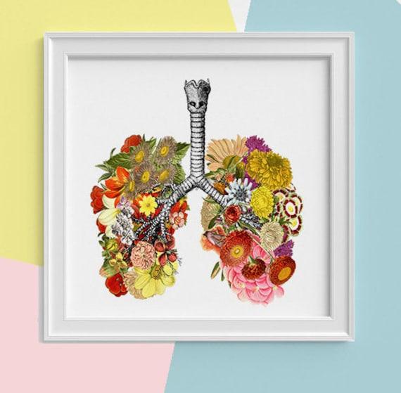 Lungs with flowers Print, wall art Human anatomy print Science student gift Human lungs art print prints SKA062SQ1