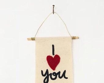 Mini Canvas Banner - I Love You (Cursive)