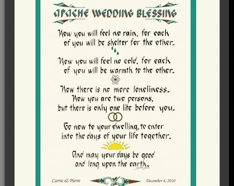Apache Wedding unique gift Personalized for newlyweds, framed, Native American, hand-lettered print, great anniversary gift