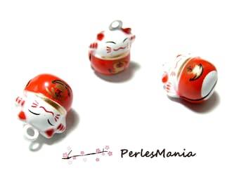 Cat Maneki Neko red bells 150518173545 18 mm 2 pendants