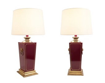 Burgundy Bakelite & Brass Lion Heads Table Lamps Hollywood Regency