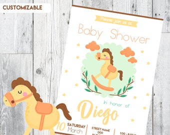 Baby Shower Invitation little horse, Baby Shower Invitations safari, Blue and Silver Shower Invite, Striped Invitation