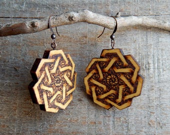Mandala Yellow Heart Wooden Hand Carved Pyrography Earrings by Tanja Sova