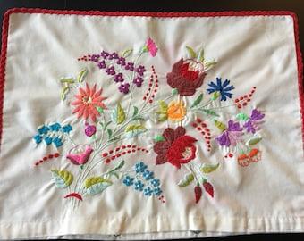 Hand embroidered pillow cover  Hungarian KALOCSAI design Folk Art handmade Eastern European decorative cushion bohemian chic