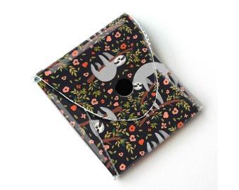 Vinyl Coin Purse - Sloth / wallet, vegan, change, snap, small, little, pocket wallet, gift, animal, cute, coin, money, kid, children, green