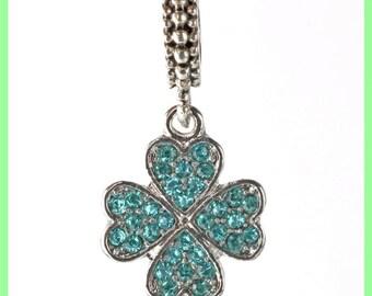 Pearl European bail N284 clover charms bracelet