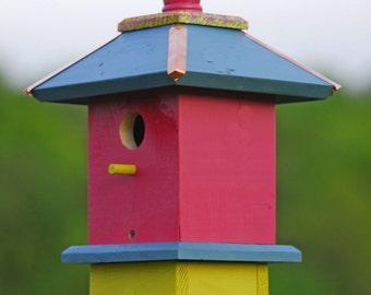 Whimsical Bird House, Painted Bird Houses, Chickadee Birdhouses, Spring Garden Decor