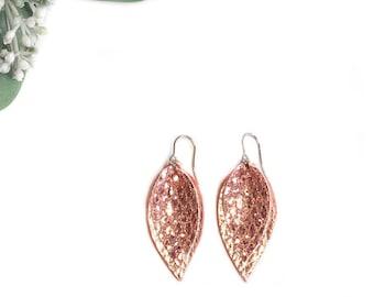 Leather Earrings- Leaf earrings -rose gold earrings- jewelry handmade- earrings handmade-dangle earrings-teardrop earrings- leather jewelry