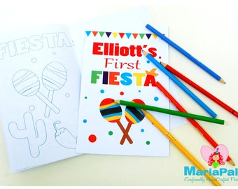 6 Fiesta Coloring Books, First FIESTA, Cinco de Mayo Party Personalized Coloring Books Party Favors  A1015