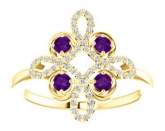 Amethyst Diamond Unique Engagement Ring, Floral, Conflict Free, 14K, 18K, Platinum