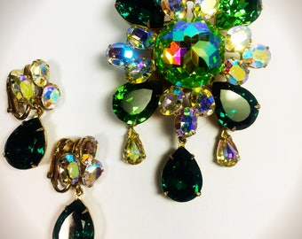 Vintage Green  and Aurora Borealis Rhinestone Brooch