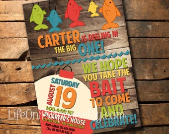 The Big ONE Fishing Birthday Party Invitation
