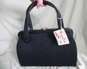 1960's Vintage Black Basque Cloth Double Handled Handbag Purse by Kadin NWT