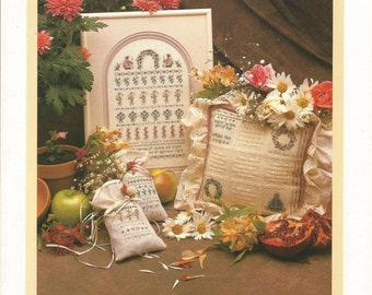 English Garden, Shepherd's Bush Cross Stitch Pattern Leaflet, Sampler, Sachets, Pillow