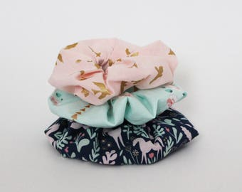 CUSTOM Scrunchie, Hair tie, Elastic band, Ponytail, Floral, Unicorns, Mint, Pink, Navy, Cotton, Gold, Made to order, Assorted, Kit, Set