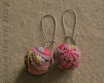 Pink embroidered earrings
