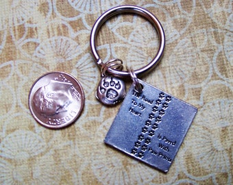 The Road To My Heart Is Paved With Paw Prints Keyring with Paw Print Charm