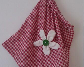 Handmade drawstring bag.. storage bag  shoe bag .flower bag checked gingham storage bag