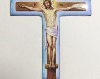 Hand-painted enamel, orthodox cross