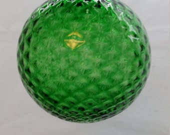 Emerald Green Diamond Facet Blown Glass Ornament 3.5 inches FREE SHIPPING
