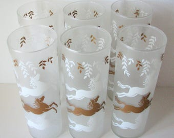 1950s Glass Libbey Tumblers Horses Cavalcade Frosted Glass Set of 6
