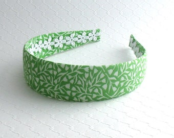 Women's Green Fabric Headband ~ Preppy Headband ~ Adult Headband ~ Wide Plastic Fabric Covered Headband ~ Green Floral Headband