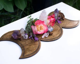 "Goddess Moon Shrine - 16"" Triple Moon Altar Board - Baltic Birch Wood Crystal Board - Maiden Mother Crone - Gift for Daughter"