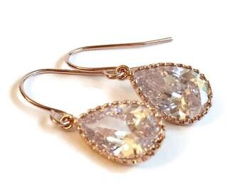 Rose Gold Earrings - Rose Gold Drop Earring