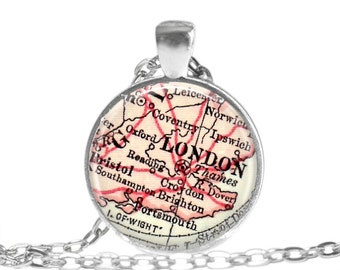 London necklace pendant charm, London map jewelry charms,  photo pendant, Olympics, England keychain for him or necklace for her, A171