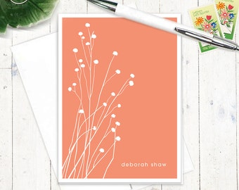 personalized stationery set - BOTANICAL DAINTY FLOWERS - set of 8 folded note cards - personalized stationary - choose color