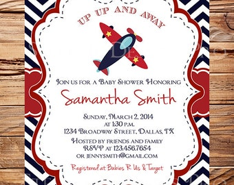 Airplane Baby Shower Invitation, Navy, Red, Chevron, Plane Baby Shower Invitation, BOY, Navy, digital, 1004
