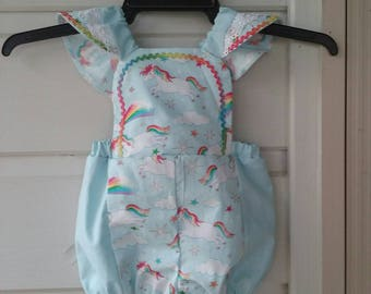Baby Blue Unicorn Romper.