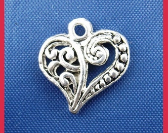 100 pcs. Silver Tone Heart Tibetan Carved Filigree Dots Charms Pendants - 13mm x 14mm