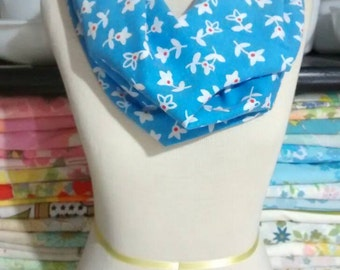 Clearance! Reclaimed, Upcycled, Rescued textiles, Handmade Vintage Sheet Infinity scarf, Blue with white flowers