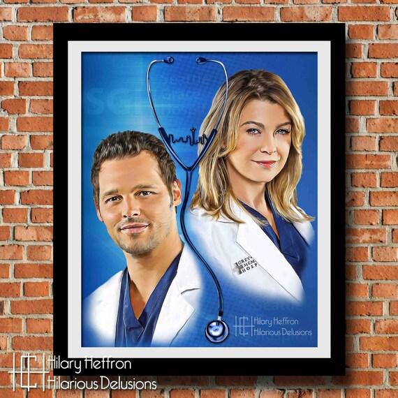 Meredith y Alex amistad pintura Digital Print anatomía de