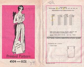 "Easy Pants Pattern Only 1 Pattern Piece, MAIL ORDER 4504 waist 37"" Plus Size Pants Plus Size Pattern Elastic Pants Straight Pants Pattern"